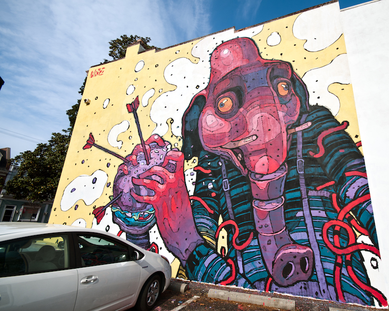 Work by Aryz in Richmond, Virginia where the photographer appears to have boosted the saturation of the image. Photo by Bill Dickinson.