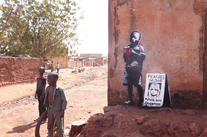 A 2008 piece by Banksy in Mali referencing British tabloid fixture Peaches Geldof. Photo from banksy.co.uk.