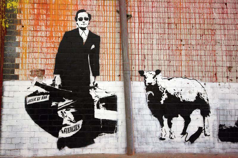 Stencils by Blek le Rat at Cans Festival in London in 2008. Photo by Bruno Girin.