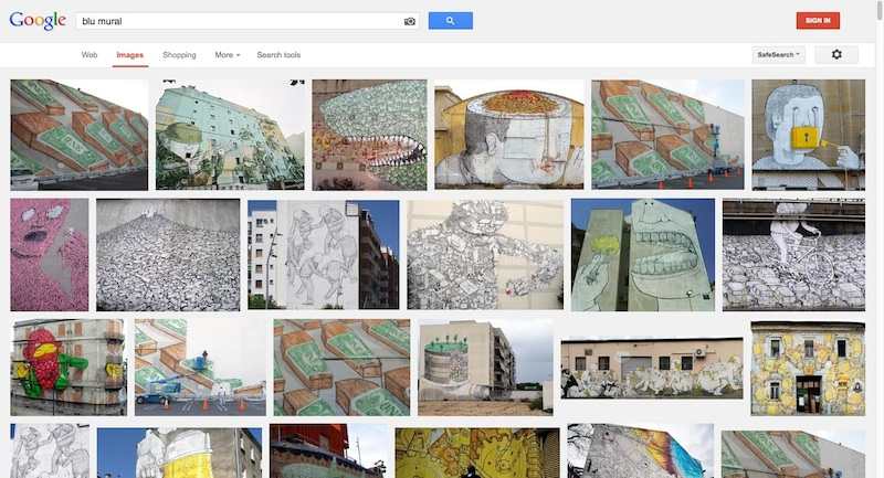 "Even in 2013, years after Blu's work was buffed at MOCA, images of that mural are some of the top Google results for the search ""blu mural"". Screenshot of a Google Image Search conducted by RJ Rushmore on September 15th, 2013."