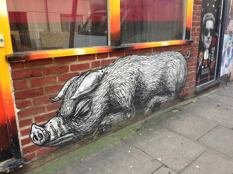 A piece by Roa, just off of Brick Lane. Painted in October 2009 during his trip to London for a show at The Brick Lane Gallery. Photo by MsSaraKelly.