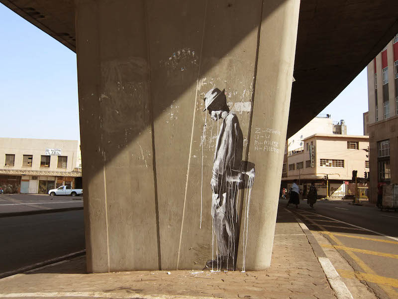 "A piece by Faith47 in Johannesburg, part of her series ""the long wait"". Photo by Faith47."