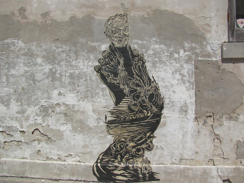 A Swoon wheatpaste. Photo by Rex Dingler.
