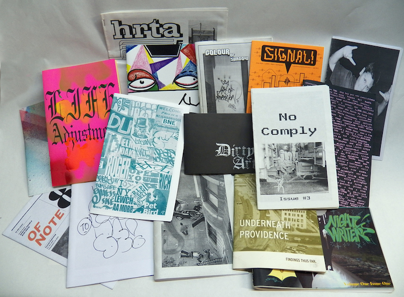 Various graffiti zines. Photo by Adam Void.
