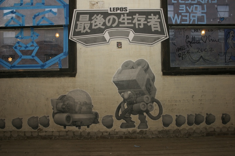 A wheatpaste of the Lepos character by Diego Bergia. Photo by Garrison Gunter.