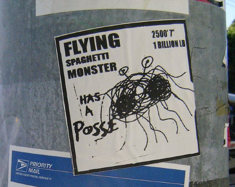 "A parody of Shepard Fairey's ""André the Giant Has a Posse"" image. This parody features the Flying Spaghetti Monster. Photo by Richard Lemarchand."