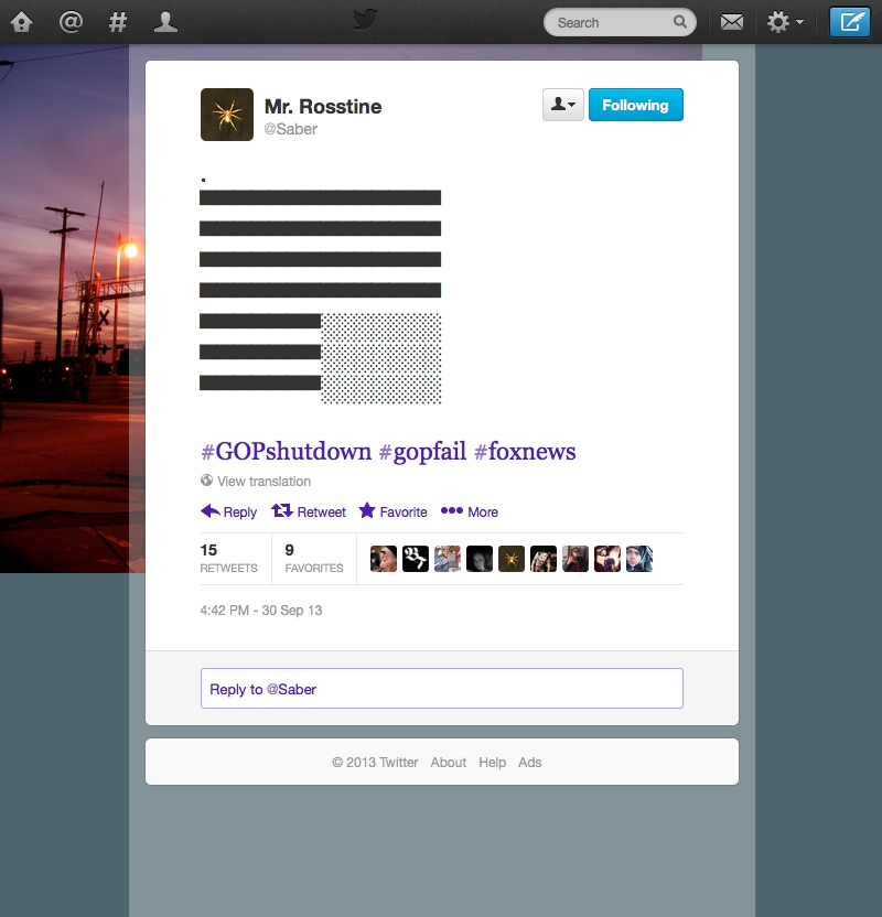 Screenshot of Twitter.com featuring a tweet by Saber.