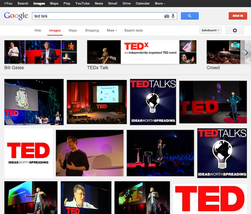 "A screenshot of a Google Image search for ""ted talk"" in September 2013. Note the woman in the blue/green shirt on the far right of the first row of results. She is not giving a ""real"" Ted Talk. She was a participant in Ideas Worth Spreading when it was installed at Eyebeam."