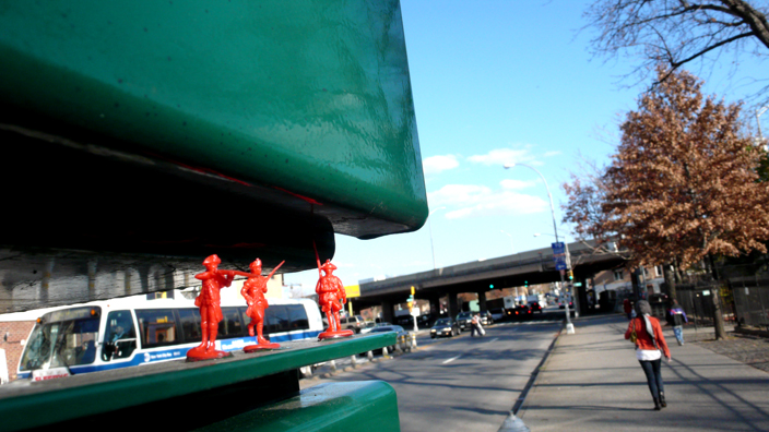 One of General Howe's early toy soldier street installations. Photo by General Howe.