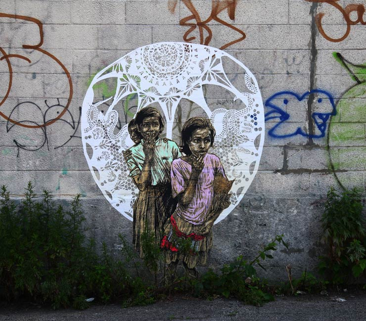 A wheatpaste by Swoon in Brooklyn. Photo by Jaime Rojo.