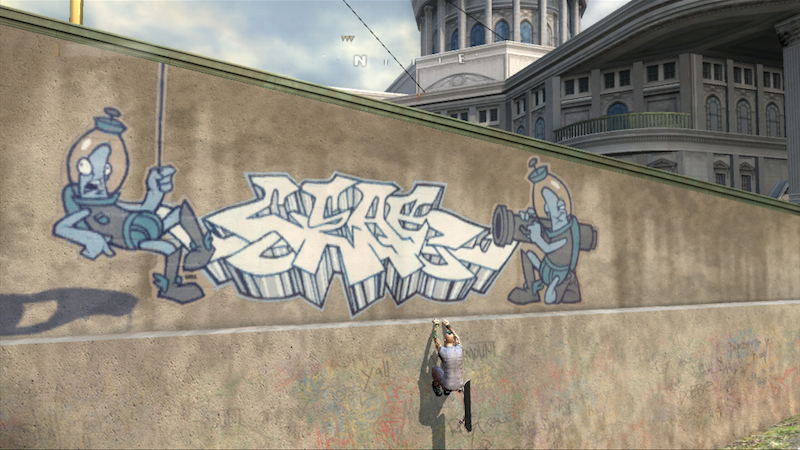 A screenshot of Bergia's artwork in Tony Hawk's Project 8. Game published by Activision and screenshot by Diego Bergia.